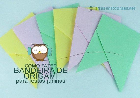 Bandeira de origami (Dobradura) para Festa Junina