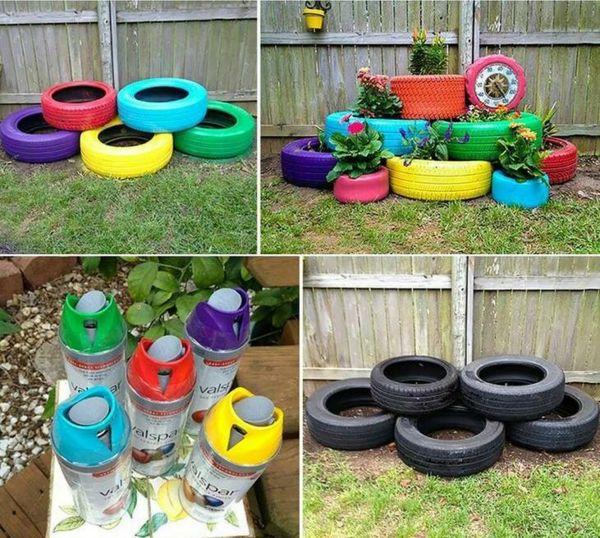 reciclagem-de-pneus-jardim-com-plantas