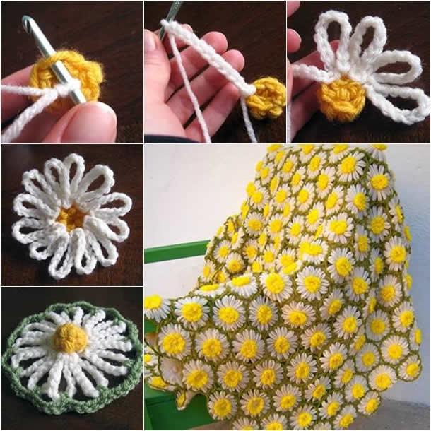 Tapetes de Croché Flores Amarelas
