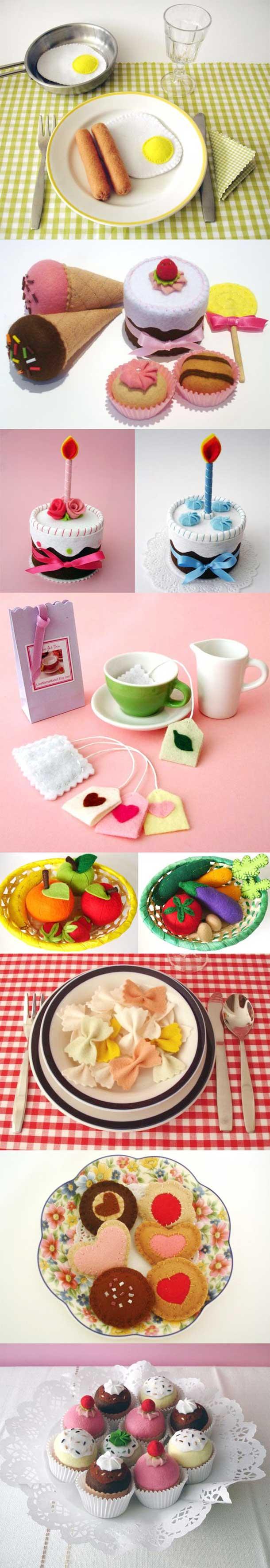 Brinquedo de comida com feltro