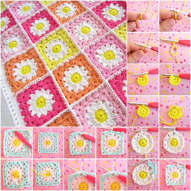 Tapetes de crochê com flores Rosa / Amarelo