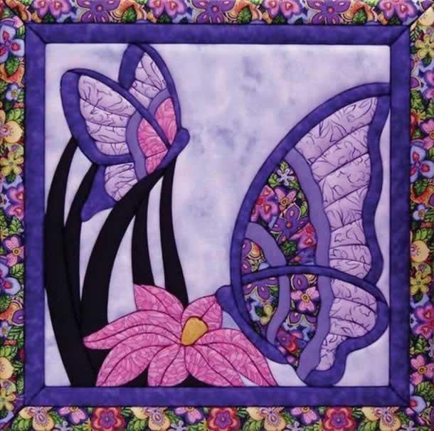 Patchwork embutido: Trabalho com borboletas