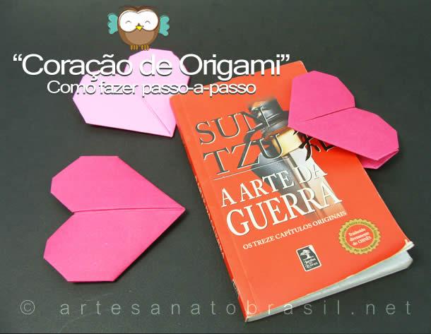 Marca página com Coração de origami