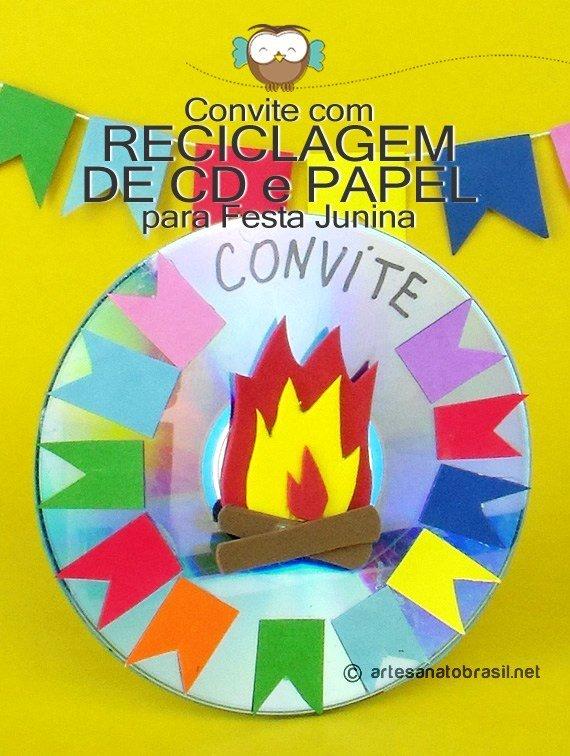 Decoração com material Reciclavel para Festa Junina:: Convite com CD