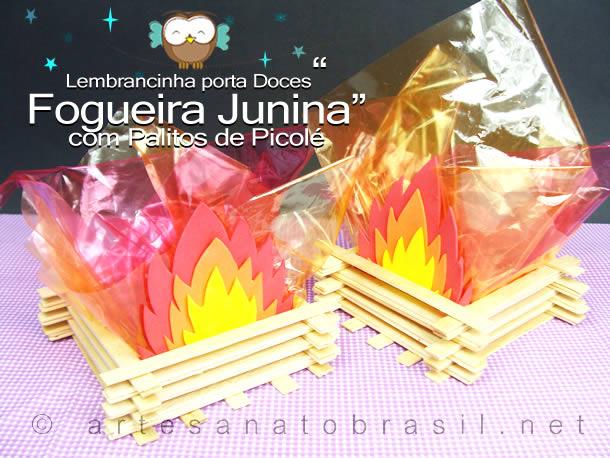 Decoração com material Reciclavel para Festa Junina: Fogueira de Palitos