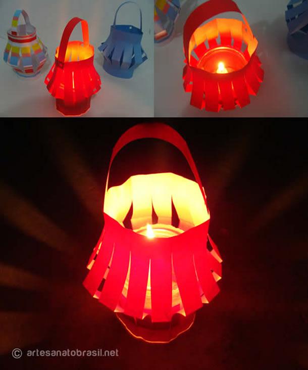 Decoração com material Reciclavel para Festa Junina: Lanterna de papel