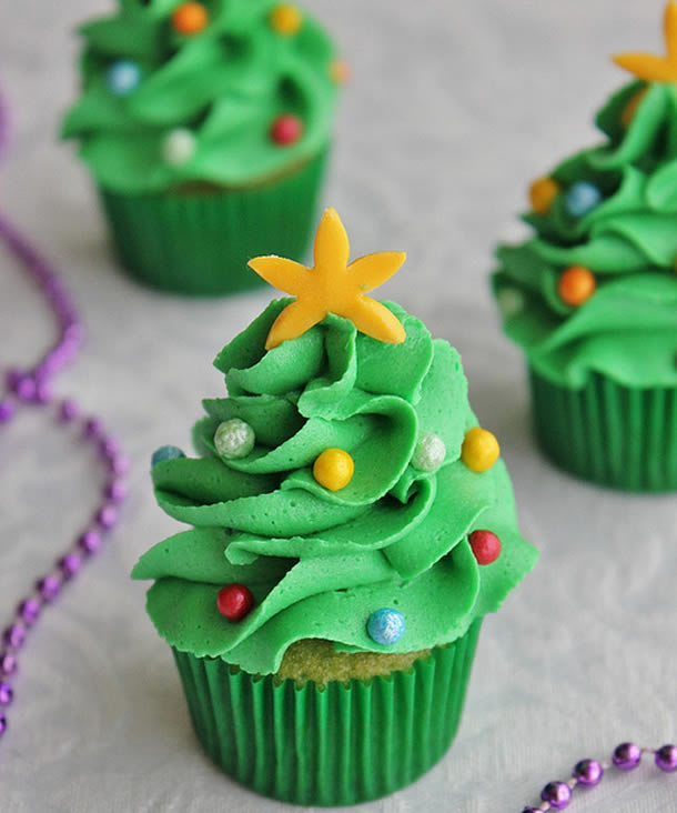 Cupcakes de Árvores de Natal