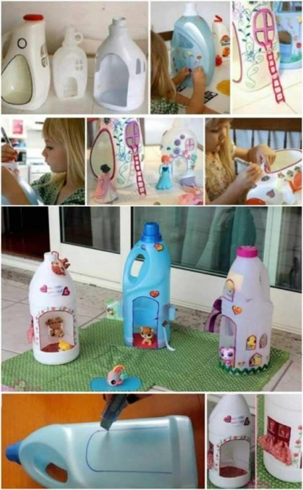 artesanato-com-garrafas-de-amaciante-casa-bonecas