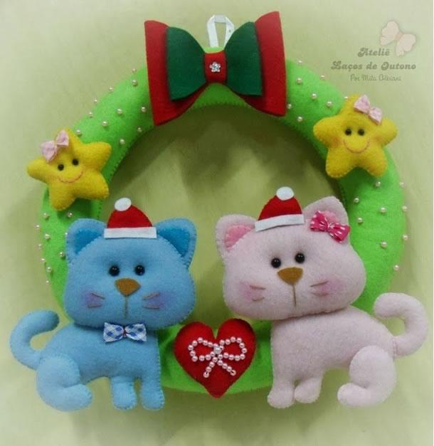 guirlanda-natal-em-feltro-gatinhos