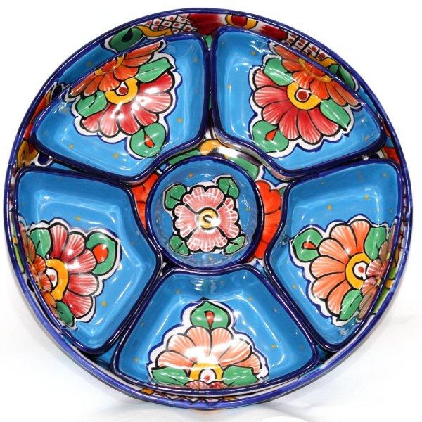 Botanero redondo azul turquesa marca artesano