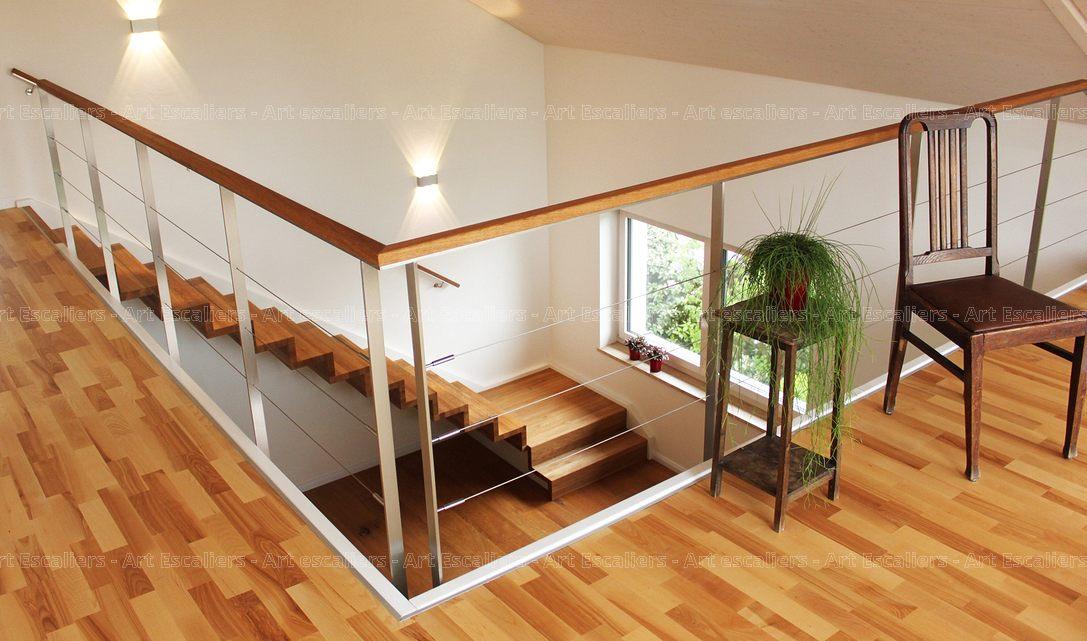 Gardecorps horizontal bois  mtal  inox  verre  Art Escaliers