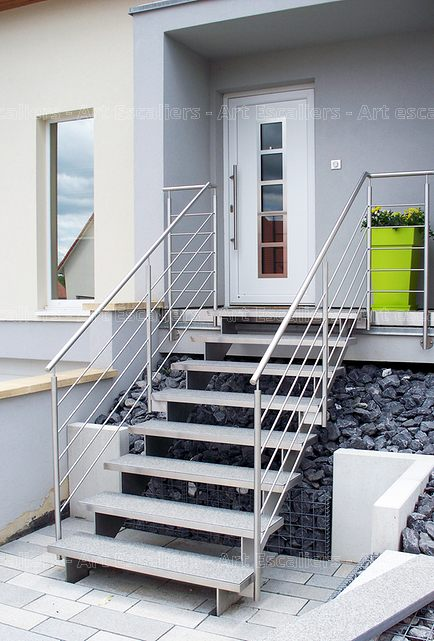Escalier extrieur boismtalinox  Art Escaliers