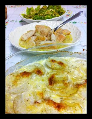 Frango com mostarda e Dauphinoise rápida – Jamie Oliver!!!