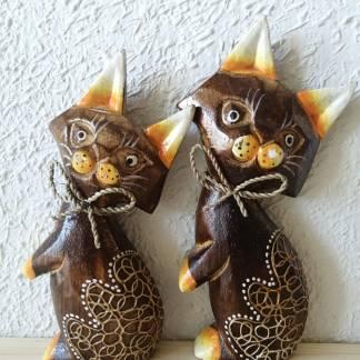 Gatos de madera decoración hogar
