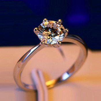 Anillo de compromiso con diamantes sortija de Plata