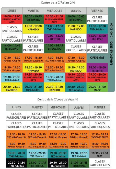 Horarios de las clases de artes marciales en Barcelona