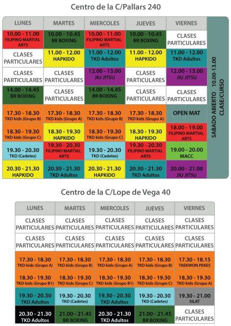 Horarios de NUESTRAS CLASES DE ARTES MARCIALES EN BARCELONA