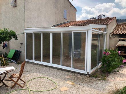 veranda aluminium blanc terrasse