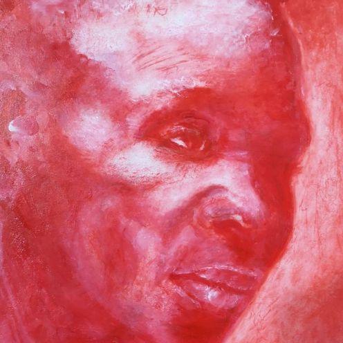 portrét červený