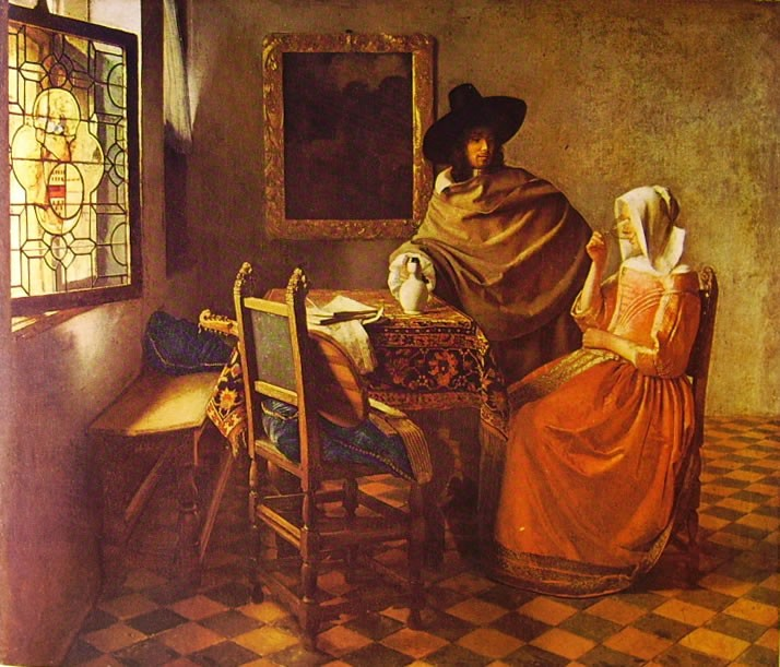 Galantuomo e donna che beve Jan Vermeer 1660
