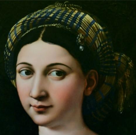 La Fornarina Particolare del viso Raffaello Sanzio 1520