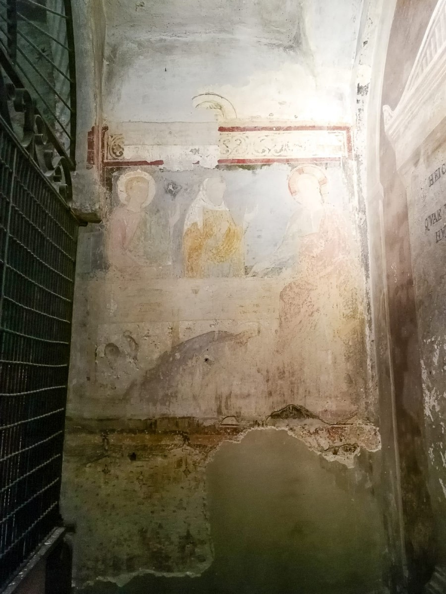 Particolare di affresco rinvenuto durante i lavori di restauro alla Cripta San Sepolcro di Milano