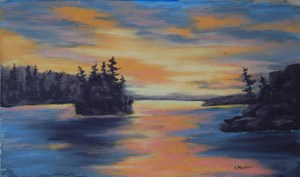 Sunset Islands Pastel 7x10 $100
