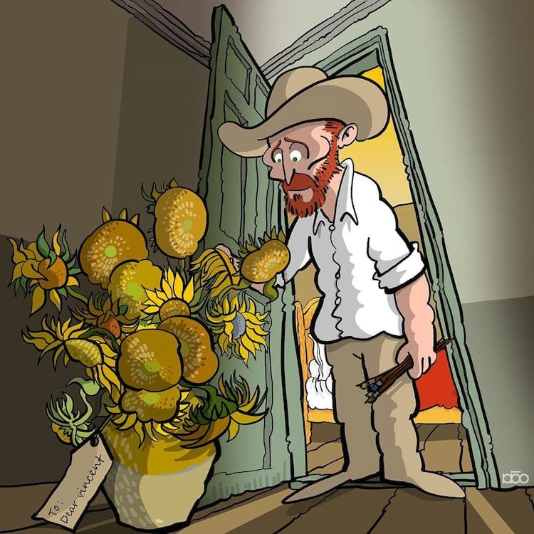 Vincent Van Gogh revisado por un joven ilustrador y artista .
