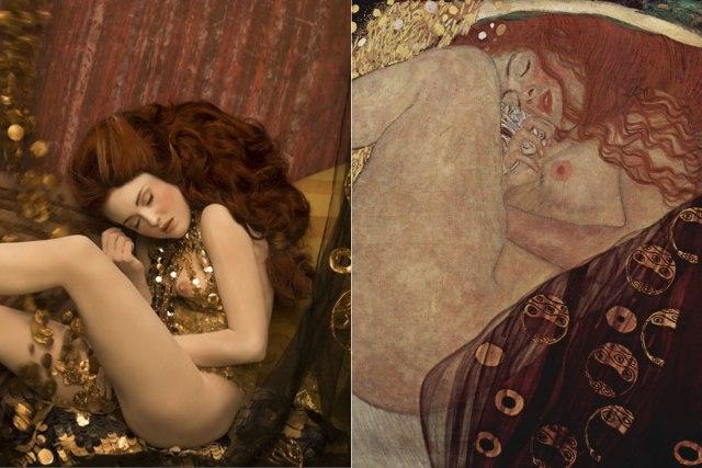 Gustav Klimt y sus obras cobran vida en la fotografía de Inge Prader.