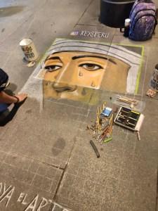 Proceso de pintado por cuadrícula realizado por Reys Perú