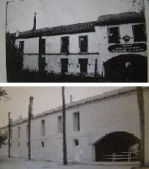 Fachada de la Procuración del Monasterio de la Cartuja en época fabril y en la actualidad, tras la restauración. Se puede observa la Puerta de Legos a la derecha. En la procuración establecieron su residencia los Pickman