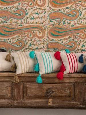 Arte y Tejido, Cojín Chennai, Chennai Cushion, Chorrera, Cojín, Cushion, Tejido, Knitted, Crochet, Natural Fibers, Algodón, Cotton, Fibras Naturales, Chennai