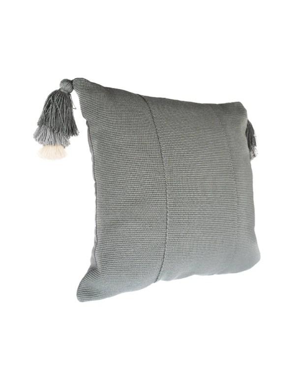 Arte y Tejido, Cojín Jaipur Gris, Jaipur Cushion Gray, Chorrera, Cojín, Cushion, Tejido, Knitted, Crochet, Natural Fibers, Algodón, Cotton, Fibras Naturales, Jaipur, Gris, Gray