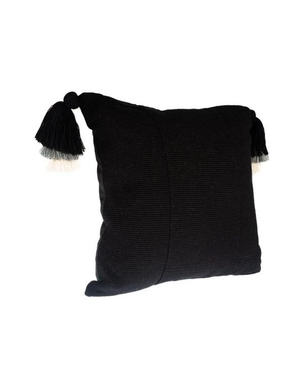 Arte y Tejido, Cojín Jaipur Negro, Jaipur Cushion Black,Chorrera, Cojín, Cushion, Tejido, Knitted, Crochet, Natural Fibers, Algodón, Cotton, Fibras Naturales, Jaipur, Black, Negro
