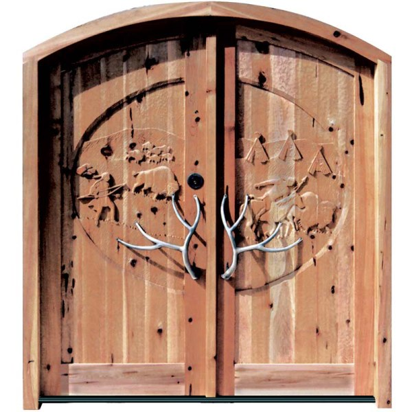 hand carved rustic wood doors
