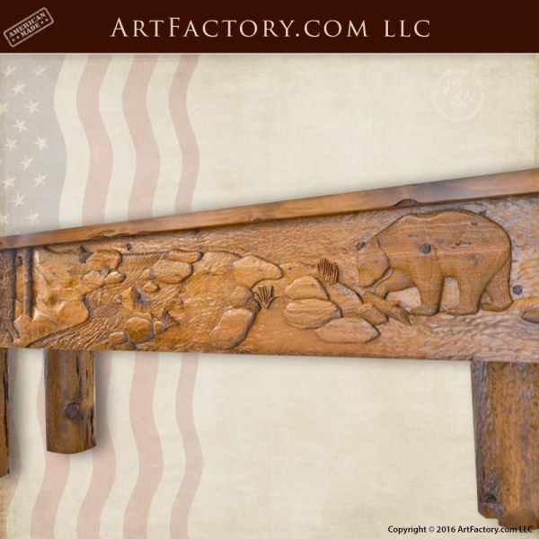 Crude Log Shuffleboard Table Hand Carved Lodge Shuffle