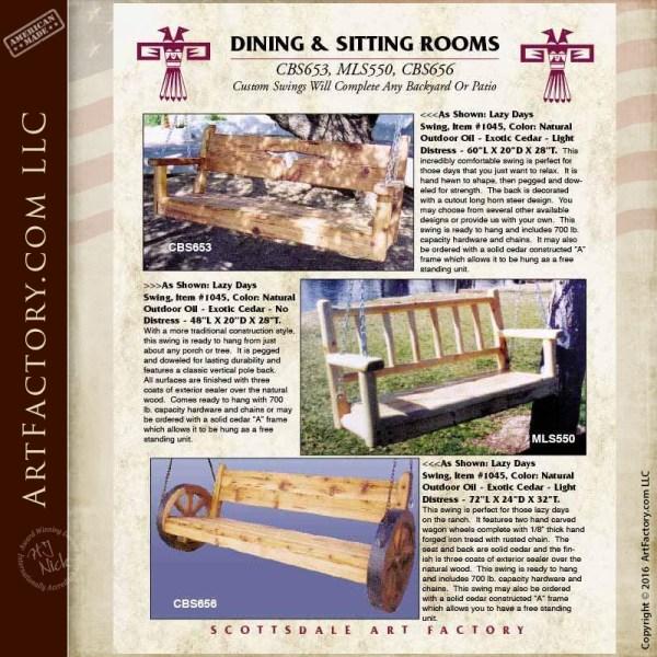 Western Wagon Wheel Bench Swing