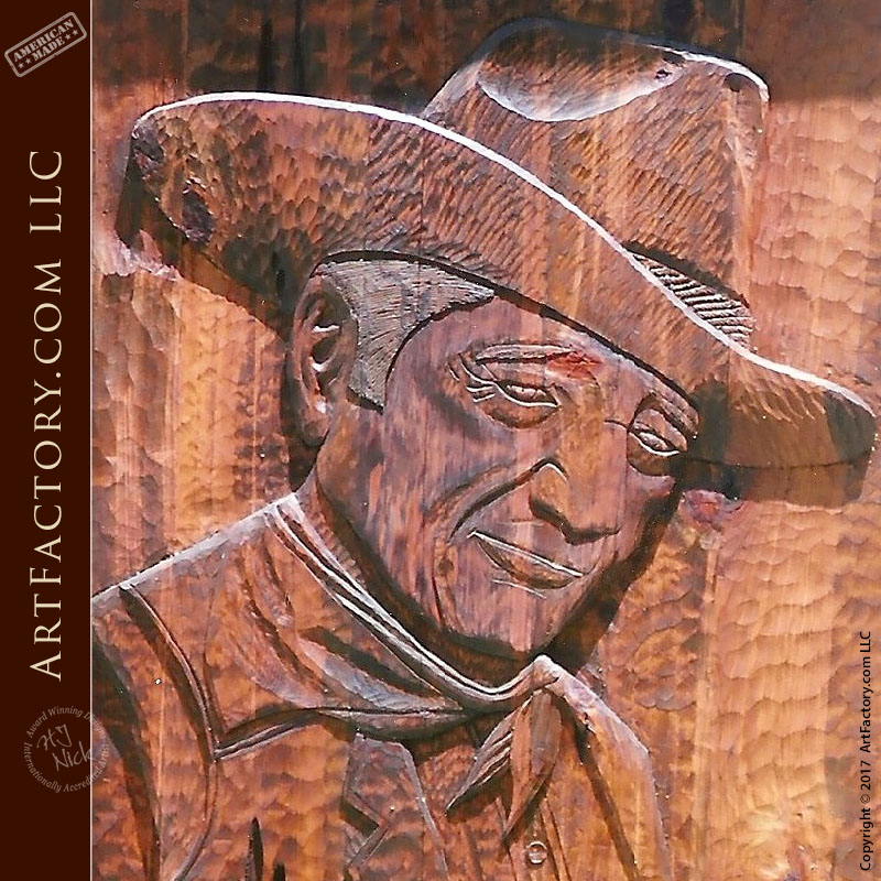 Custom John Wayne Hand Carved Door