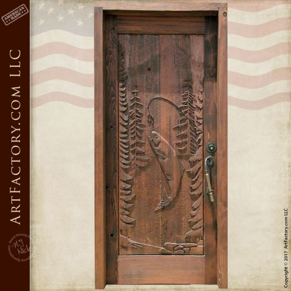 fishing theme carved wood door log cabin entrance door