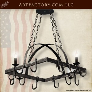 Mediterranean Pot Rack Chandelier - Custom Hand Forged Lighting