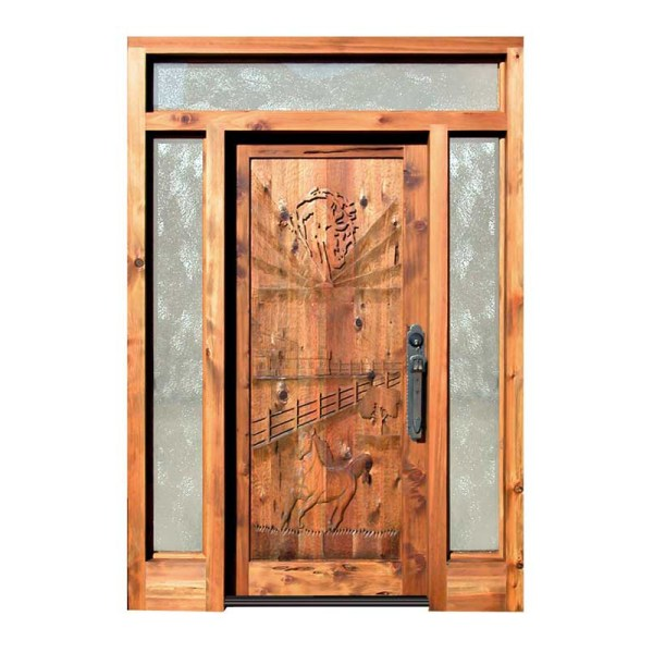 hand carved western door