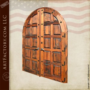 arched wood panel double doors