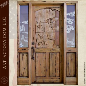 custom. bears carved door