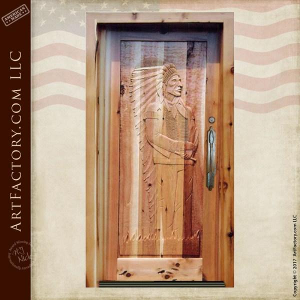 Chief Joseph hand carved door