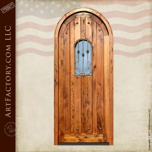 vertical plank arched door