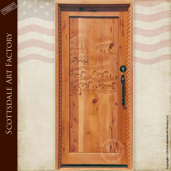 custom horse theme door ... & Door - Hand Carved Wild Horses - Custom Wood Exterior Doors