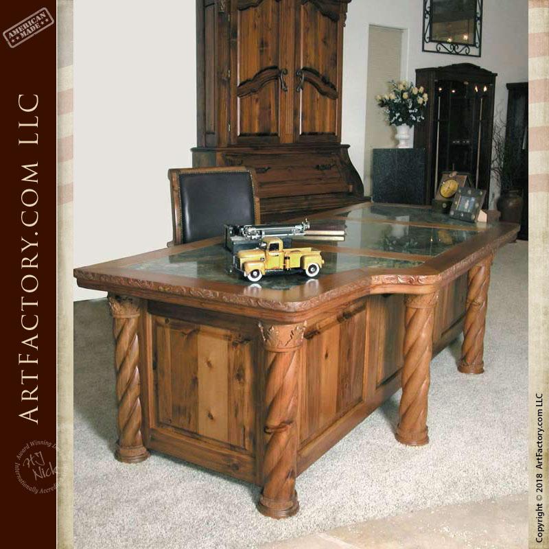 Fine Art Hand Carved Executive Desk: Genuine Granite Inlay Top