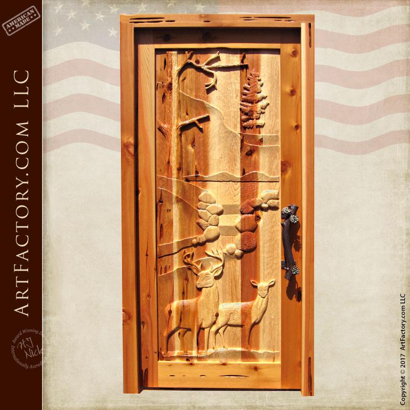 Deer Carved Front Door Deer Carved Front Door