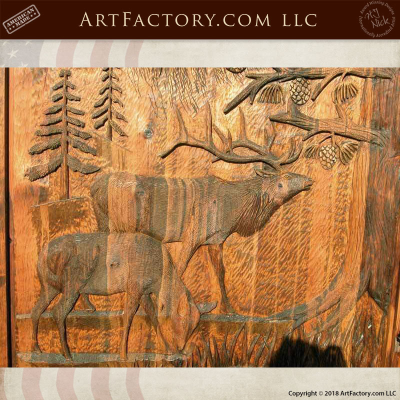 fine art elk wood carving