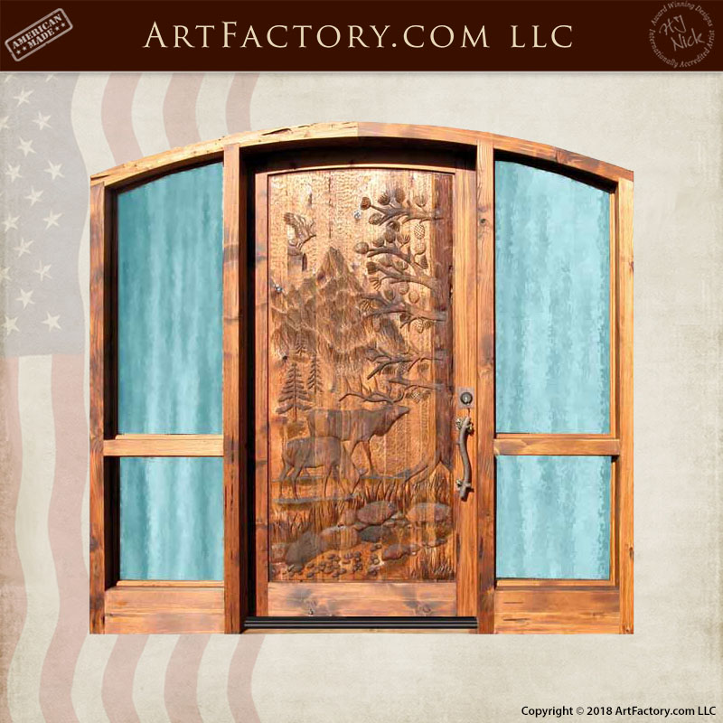 elk hand carved door